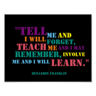 Inspirera Benjamin Franklin citationsteckenaffisch Poster