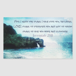 Inspirera bibelVerseJeremiah 29:11 Rektangulärt Klistermärke