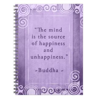 Inspirera Buddha lyckacitationstecken Anteckningsbok