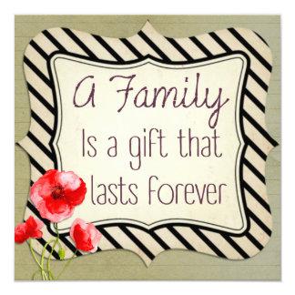 Inspirera citationstecken för familj fyrkantigt 13,3 cm inbjudningskort