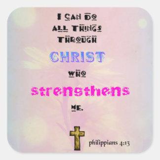 Inspirera kristen fyrkantigt klistermärke