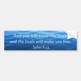 Inspirera kristet citationstecken - John 8:32 Bildekal