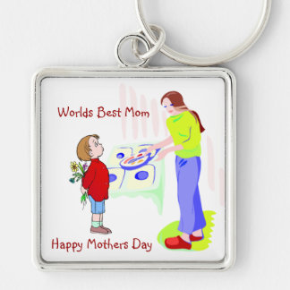 Inspirera lycklig mors dag + Bäst mamma för Fyrkantig Silverfärgad Nyckelring