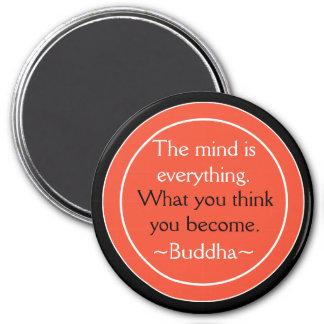 Inspirera orange för Buddha citationsteckensvart Magnet Rund 7.6 Cm