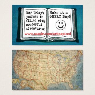 Inspirera ord för USA vintagekarta som By bor Visitkort