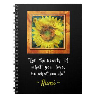Inspirera Rumi citationstecken Anteckningsbok Med Spiral