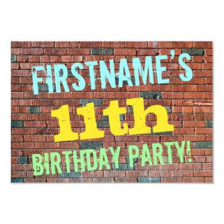 Inspirerad 11th födelsedag för tegelstenvägg 8,9 x 12,7 cm inbjudningskort