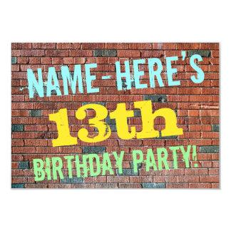Inspirerad 13th födelsedag för tegelstenvägg 8,9 x 12,7 cm inbjudningskort