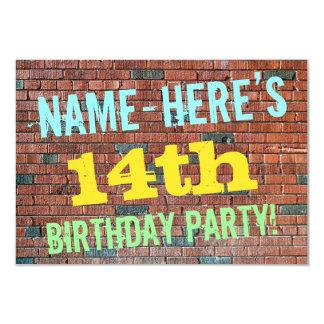 Inspirerad 14th födelsedag för tegelstenvägg 8,9 x 12,7 cm inbjudningskort