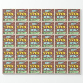 Inspirerad 17th födelsedag för tegelstenvägg presentpapper