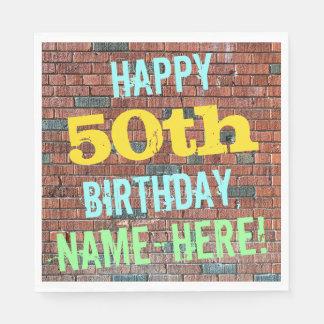 Inspirerad 50th födelsedag för tegelstenvägg pappersservett