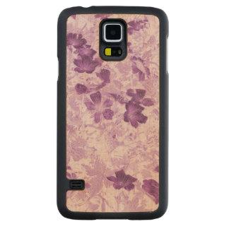 Inspirerad blom- Mauve för vintage Carved Lönn Galaxy S5 Skal