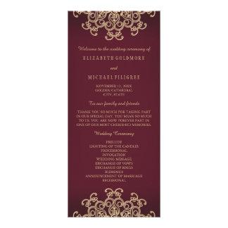 Inspirerad bröllopsprogram för rödbrun och guld- reklamkort