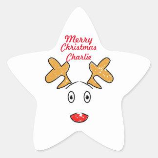 Inspirerad Rudolph för enkelt konstverk röd nosed Stjärnformat Klistermärke