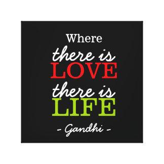 Inspireras citationstecken Gandhi: Kärlekliv: Canvastryck