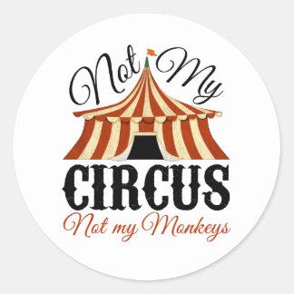 Inte min cirkus - inte min apor runt klistermärke