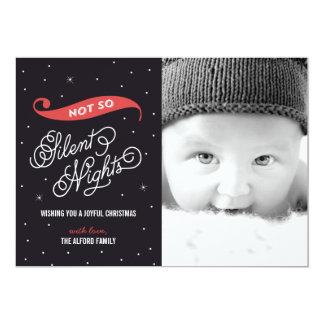 Inte så tysta kort för nattjulfoto 12,7 x 17,8 cm inbjudningskort