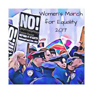 Inte! Stoppa trumf & encentmynt, kvinna mars för Canvastryck