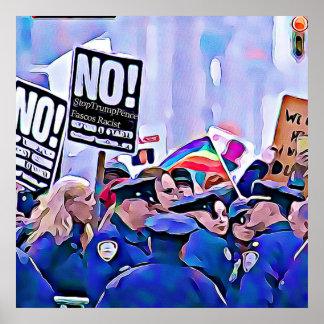 Inte! Stoppa trumf & encentmynt, kvinna mars för Poster
