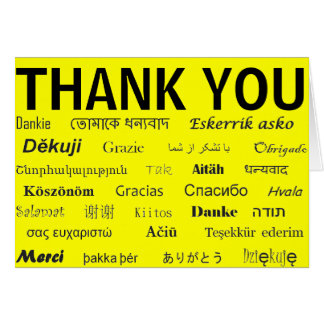 Internationellt tackkort hälsnings kort