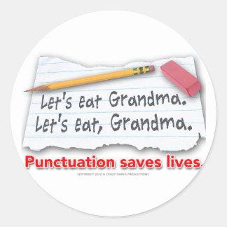 Interpunktion sparar liv runt klistermärke