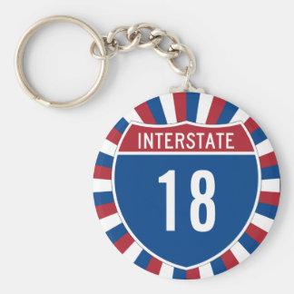 Interstate 18 rund nyckelring