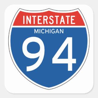 Interstate underteckna 94 - Michigan Fyrkantigt Klistermärke