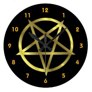 Inverterad guld- Pentagram Stor Klocka