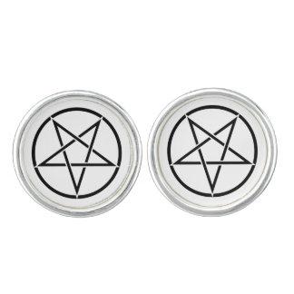 Inverterad pentagram (bakgrundsfärganpassadet) manschettknappar