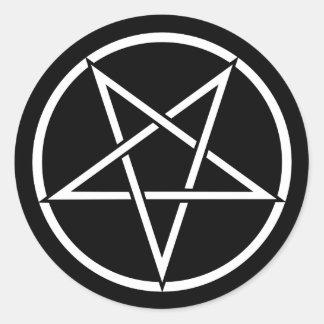 Inverterad pentagram (bakgrundsfärganpassadet) runt klistermärke