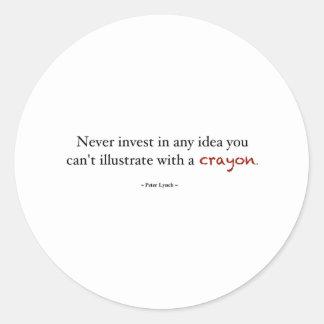Investera för Crayon Runt Klistermärke