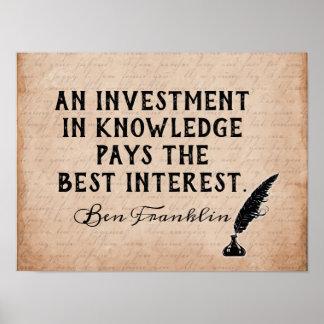 Investera i kunskap - det Ben Franklin Poster