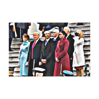 Invigningdagpresident Obama & Donald Trump Canvastryck