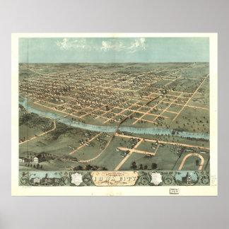Iowa City Iowa 1868 antika panorama- karta Poster
