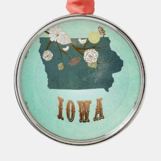 Iowa för modern vintage statlig karta - julgransprydnad metall