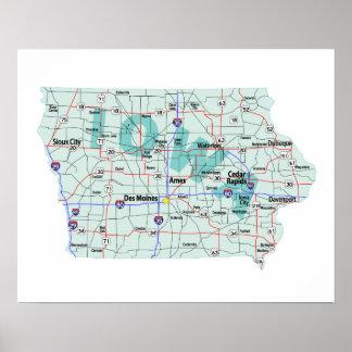 Iowa Interstate kartatryck Poster
