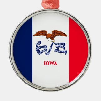 Iowa statlig flaggadesign julgransprydnad metall
