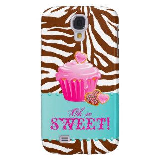 iPhone 3 för chokladmuffinsebran täcker rosor Galaxy S4 Fodral