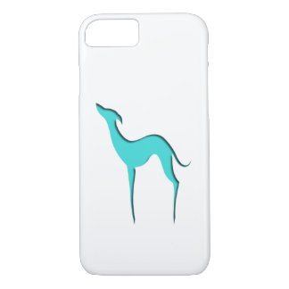 iPhone 7 för vinthund-/Whippet turkossilhouette