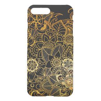 iPhone 8/7 blom- klotterguld G523 för positivt iPhone 7 Plus Skal