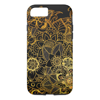 iPhone 8/7 tuffa blom- klotterguld G523 för fodral