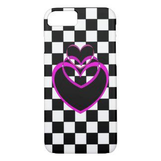 iPhone för lilor för schackbräde för hjärtaPopart