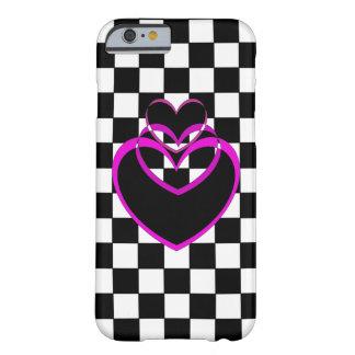 iPhone för lilor för schackbräde för hjärtaPopart Barely There iPhone 6 Skal