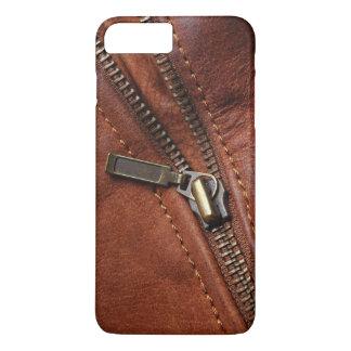 iPhone: Zipper av den bruna läderbikerjackan