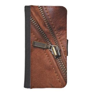 iPhone: Zipper av den bruna läderbikerjackan iPhone SE/5/5s Plånbok