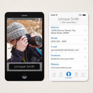 iPhoneiOS-stil - det personliga fotoet profilerar Visitkort