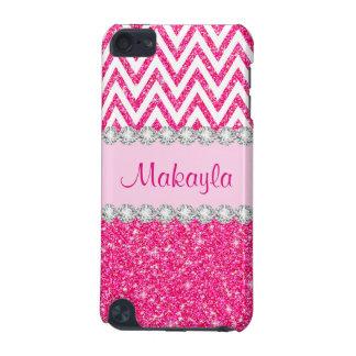 Ipod touch case för sparrar 5G för rosaglittervit