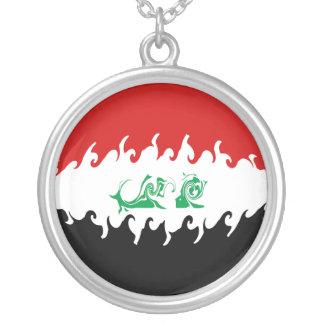 Irak Gnarly flagga Halsband Med Rund Hängsmycke