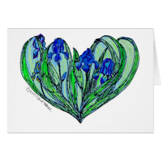"Iris ""den art nouveau"" bröllopinbjudan eller korte hälsningskort"