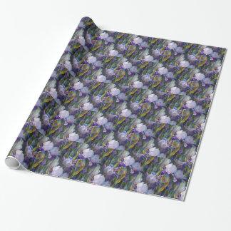 Irisblomsterträdgård som slår in papper presentpapper